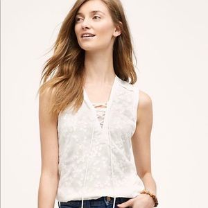 Maeve Anthropologie Embroidered Lace Up Blouse 0